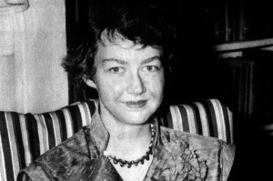 "Flannery O'Connor, with ""moon facies"" from her lupus regimen already apparent"