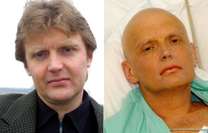 Aleksandr Litvinenko in full health (left) and dying a short time later in London (right)